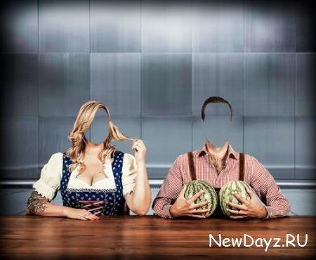 Фотошаблон для фотошопа - Два арбуза