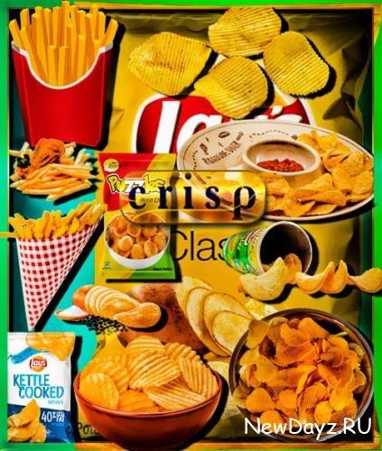 Клипарты на прозрачном фоне - Картошка фри и чипсы