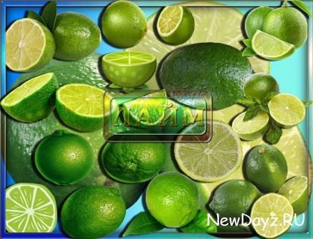 Png клипарты для фоторамки - Зеленый лайм