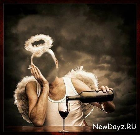 Шаблон для девушки - Ангел с вином