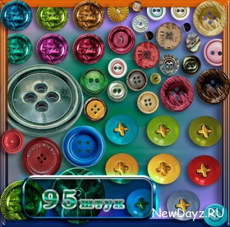 Клипарты / Cliparts - Цветные пуговицы