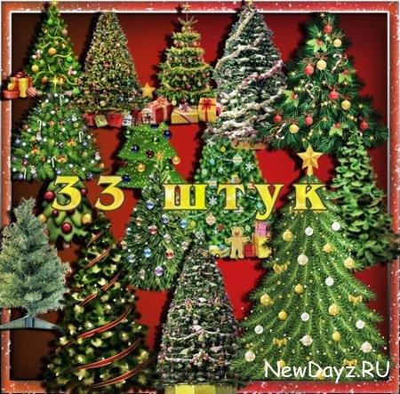 Растровые клипарты - Новогодние елки