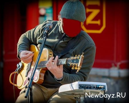 Фотошаблон psd - Уличный гитарист